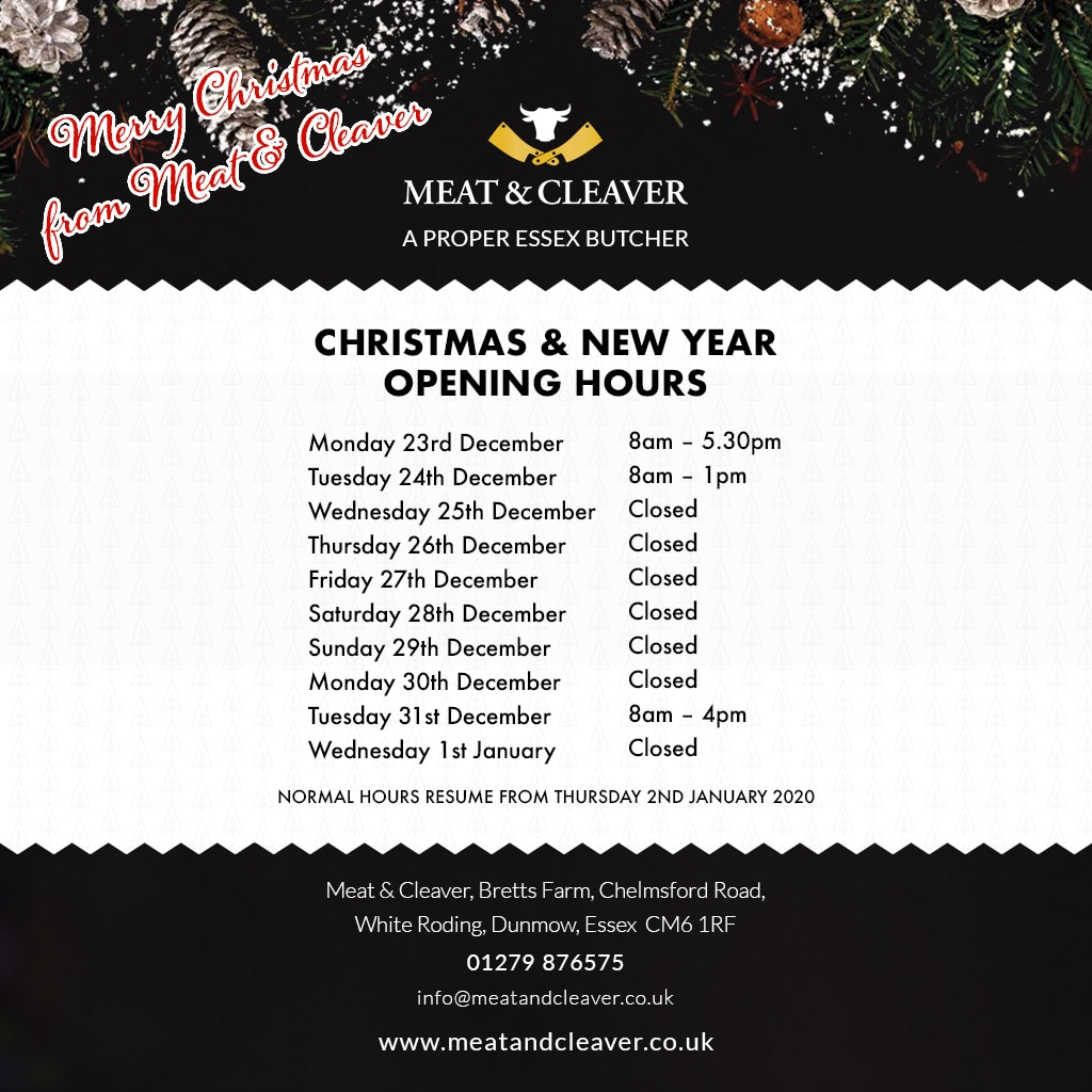 Christmas & New Year Opening Hours 2019/20